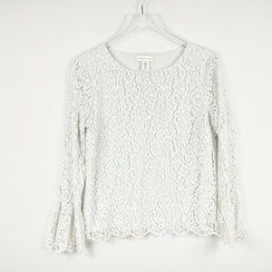 Adrienne Vittadini Womens Lace Bell Sleeve Blouse